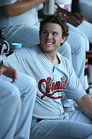 Andrew Byler (20) of the Visalia Rawhide in the dugout before a game against the Lancaster JetHawks at The Hanger on August 9, 2017 in Lancaster, California. Lancaster defeated Visalia, 7-4. (Larry Goren/Four Seam Images)