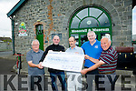 Presenting a cheque  for money raised by hosting a barbeque at the premises formally the Stacks Off Licence  were  Alan Henshaw Wood of No 21 off licence and John Griffin butchers Tralee and Listowel.The money raised was donated to the Lartigue Monorail Listowel.<br /> Pictured front l-r<br /> Seamus Murphy,Volunteer,Alan Henshaw Wood,No 21 Off Licence, Martin Griffin,Station Master of the Lartigue Monorail Listowel, John Griffin of John Griffin Butchers Tralee and Listowel and Pat Welsh,Volunteer