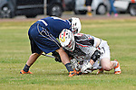 GER - Hannover, Germany, May 30: During the Men Lacrosse Playoffs 2015 match between HLC Rot-Weiss Muenchen (blue) and KKHT Schwarz-Weiss Koeln (weiss) on May 30, 2015 at Deutscher Hockey-Club Hannover e.V. in Hannover, Germany. Final score 5:6. (Photo by Dirk Markgraf / www.265-images.com) *** Local caption *** Thilo Siegel #11 of HLC Rot-Weiss Muenchen, Dominic Schueler #29 of KKHT Schwarz-Weiss Koeln