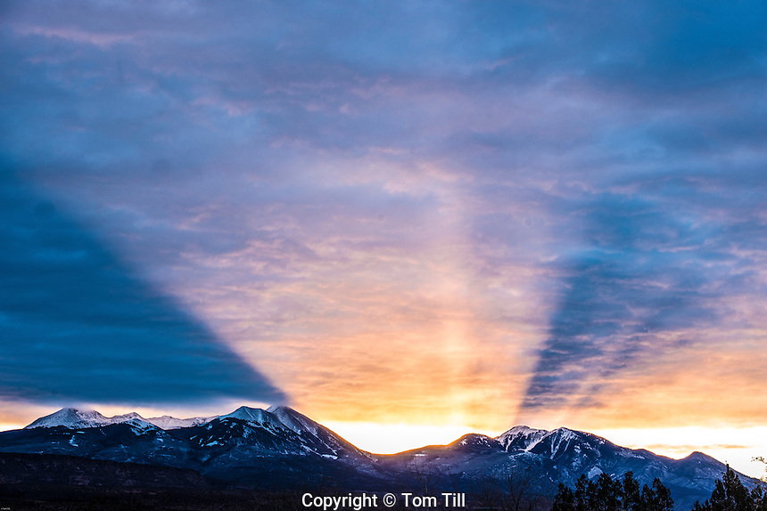 Sunrise above La Sal Mountains, Seen from Spanish Valley, Utah  Manti-La Sal National Park, Utah