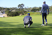 Jordan Spieth and Dustin Johnson (USA) on the 5th green at Pebble Beach Golf Links during Saturday's Round 3 of the 2017 AT&amp;T Pebble Beach Pro-Am held over 3 courses, Pebble Beach, Spyglass Hill and Monterey Penninsula Country Club, Monterey, California, USA. 11th February 2017.<br /> Picture: Eoin Clarke | Golffile<br /> <br /> <br /> All photos usage must carry mandatory copyright credit (&copy; Golffile | Eoin Clarke)