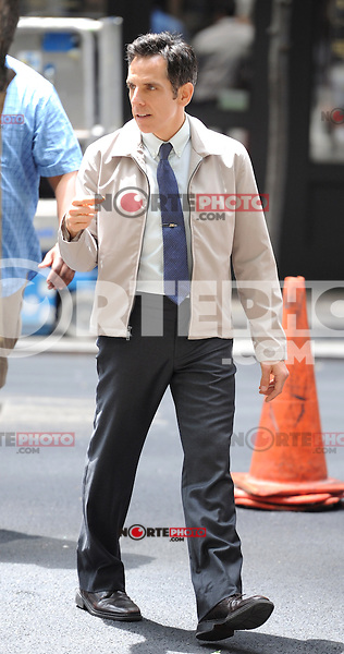 """Ben Stiller on the set of the film, """"The Secret Life of Walter Mitty"""" in New York City. June 2, 2012. © mpi15/MediaPunch Inc."""