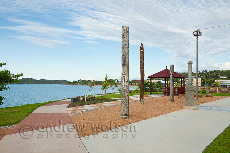 Totem pole artworks on the Victoria Parade foreshore.  Thursday Island, Torres Strait Islands, Queensland, Australia