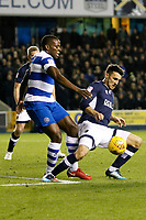 Lee Gregory of Millwall fends off Nedum Onuoha of Queens Park Rangers during the Sky Bet Championship match between Millwall and Queens Park Rangers at The Den, London, England on 29 December 2017. Photo by Carlton Myrie / PRiME Media Images.