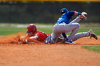 Canada Junior National Team Max Grant (27) slides into second base as Glenn Santiago (25) attempts to apply the tag during an exhibition game against the Toronto Blue Jays on March 8, 2020 at Baseball City in St. Petersburg, Florida.  (Mike Janes/Four Seam Images)