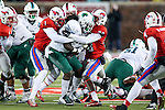 Southern Methodist Mustangs defensive end Mason Gentry (93) in action during the game between the Tulane Green Wave and the SMU Mustangs at the Gerald J. Ford Stadium in Dallas, Texas.