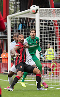 Bournemouth's Callum Wilson (center) battles with West Ham United's Issa Diop (left)<br /> <br /> Photographer David Horton/CameraSport<br /> <br /> The Premier League - Bournemouth v West Ham United - Saturday 28th September 2019 - Vitality Stadium - Bournemouth<br /> <br /> World Copyright © 2019 CameraSport. All rights reserved. 43 Linden Ave. Countesthorpe. Leicester. England. LE8 5PG - Tel: +44 (0) 116 277 4147 - admin@camerasport.com - www.camerasport.com