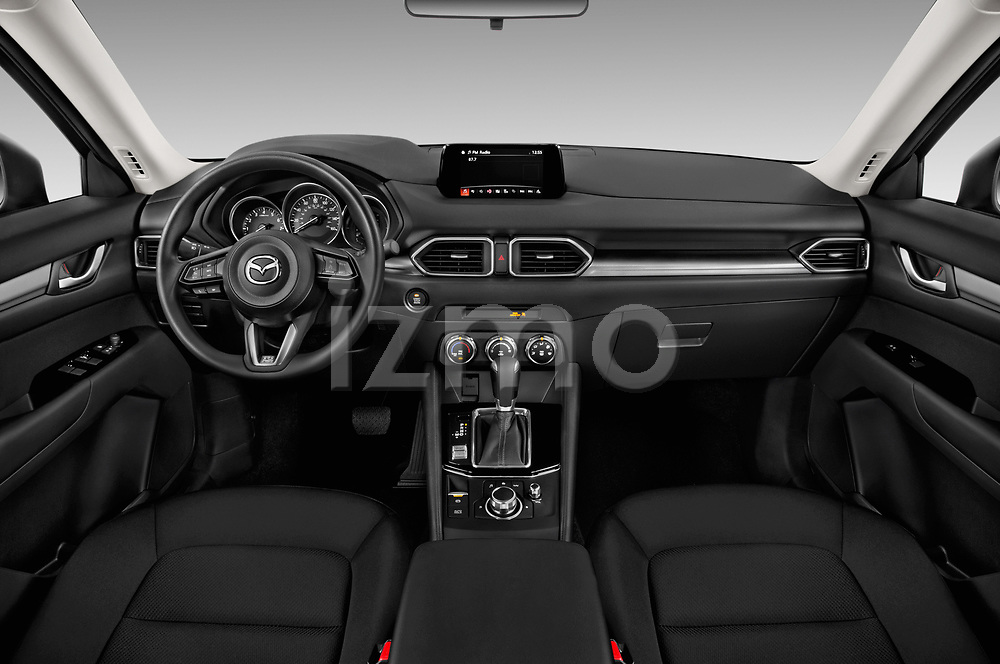 Stock photo of straight dashboard view of a 2017 Mazda CX-5 Sport 5 Door SUV