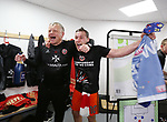 Sheffield United's Billy Sharpe and Chris Wilder celebrate promotion during the League One match at the Sixfields Stadium, Northampton. Picture date: April 8th, 2017. Pic David Klein/Sportimage