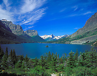 St. Mary Lake surrounded by the high peaks of Glacier National Park.