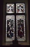 Mary Mallatratt Hot Cross Bun Legacy. Mary Mallatratt window in the Unitarian church, showing the Parabel of Talents. Mansfield Nottinghamshire.