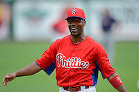 Philadelphia Phillies shortstop Jimmy Rollins #11 before a Spring Training game against the Boston Red Sox at Bright House Field on March 24, 2013 in Clearwater, Florida.  Boston defeated Philadelphia 7-6.  (Mike Janes/Four Seam Images)