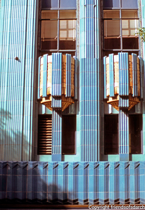 Los Angeles: Eastern Columbia Building, 849 S. Broadway, L. A.--detail. Claude Beelman 1929. Photo '89.