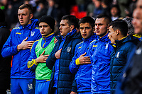 Ukraine bench during the International Euro U21 Qualification match between England U21 and Ukraine U21 at Bramall Lane, Sheffield, England on 27 March 2018. Photo by Stephen Buckley / PRiME Media Images.