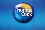 Thomas Cook travel agents logo.  High street shops and shopping,  January 2009, Lowestoft, Suffolk, England