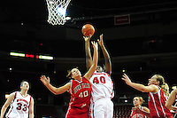 Wisconsin's Anya Covington goes in for a layup, as the Badger women's basketball team tops UW-River Falls 71-38 on Sunday at the Kohl Center in Madison