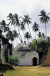 Zanzibar, Tanzania. Ancient public baths with palm trees behind.