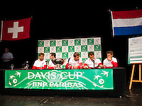 Switserland, Genève, September 17, 2015, Tennis,   Davis Cup, Switserland-Netherlands, Draw, Swiss team Ltr: Stan Wawrinka, captain Severin Luthi, Marco Chiudinelli, Roger Federer and Henri Laaksonen<br /> Photo: Tennisimages/Henk Koster
