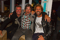 Torquay, Victoria/Australia (Monday, April 9, 2012) Phil Jarratt (AUS), Tommy Peterson (AUS) and Luke Kennedy (AUS). The 500th Issue Tracks party at Growlers Restaurant in Torquay attended by past editors Phil Jarratt (AUS), Gary Dunne (AUS),Neil Ridgway (AUS), current editor Luke Kennedy (AUS) surfers and friends of the magazine.Photo: joliphotos.com