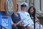 From left, Tracy Soliday, with Congressman Mark Amodei's office, Chief of the Boat David Stephenson, and Yolanda Garcia, with Senator Harry Reid's office, at the USS Nevada Centennial of Launch ceremony at the Capitol, in Carson City, Nev., on Friday, July 11, 2014.<br /> Photo by Cathleen Allison