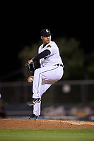 Connecticut Tigers relief pitcher Arvicent Perez (18) delivers a pitch during a game against the Hudson Valley Renegades on August 20, 2018 at Dodd Stadium in Norwich, Connecticut.  Hudson Valley defeated Connecticut 3-1.  (Mike Janes/Four Seam Images)