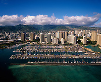 Ala Wai Yacht Harbor, Waikiki, Honolulu, Aerial View, Oahu, Hawaii, USA.