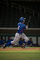AZL Rangers right fielder Ryan Anderson (6) follows through on his swing during an Arizona League game against the AZL Cubs 2 at Sloan Park on July 7, 2018 in Mesa, Arizona. AZL Rangers defeated AZL Cubs 2 11-2. (Zachary Lucy/Four Seam Images)