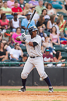 Miguel Andujar (5) of the Charleston RiverDogs at bat against the Hickory Crawdads at L.P. Frans Stadium on May 25, 2014 in Hickory, North Carolina.  The RiverDogs defeated the Crawdads 17-10.  (Brian Westerholt/Four Seam Images)