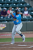 Yasiel Balaguert (12) of the Myrtle Beach Pelicans at bat against the Winston-Salem Dash at BB&T Ballpark on April 18, 2016 in Winston-Salem, North Carolina.  The Pelicans defeated the Dash 6-4.  (Brian Westerholt/Four Seam Images)