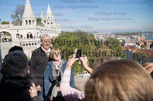 Tourists enjoy the view of the city from Budapest's landmark Fisherman's Bastion on World Tourism Day in Budapest, Hungary on Sept. 27, 2018. ATTILA VOLGYI