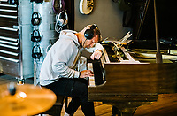 Carolina Panthers Running Back Christian McCaffrey plays piano at The Decibel Garden in Denver, Colorado, Wednesday, June 26, 2019.<br />  <br /> Photo by Matt Nager