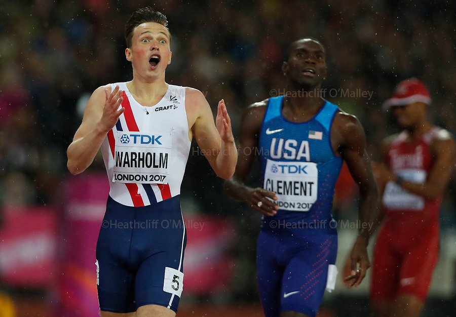 Mcc0078114 . Daily Telegraph<br /> <br /> DT News<br /> <br /> Mens 400m Hurdles Final<br /> <br /> Day 6 of the IAAF World Championships at the Olympic Park Stratford .<br /> <br /> London 9 August 2017