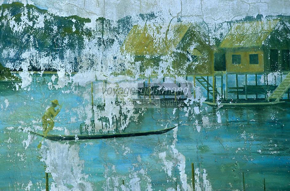 Asie/Birmanie/Myanmar/Haute Birmanie/Mandalay: Pagode Shwek Yimyint - [Temple voué à un moine] - Peinture sur le thème de la pêche