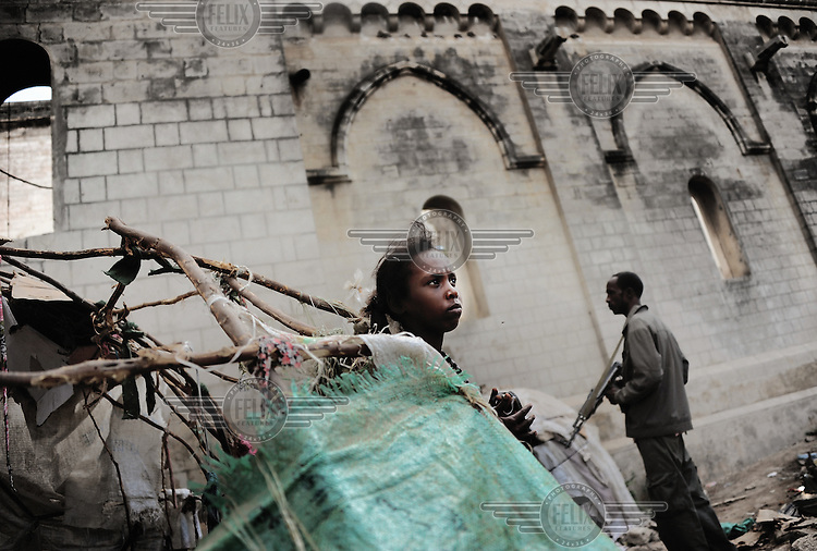 Mogadishu/Somalia 2012 - IDP Militias have set up a camp outside of the Cathedral.