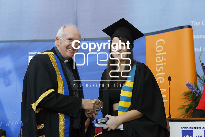 Pictured at this yearÂ's Graduation Ceremony at Mary Immaculate College, Limerick was Michelle McCoy  (Grad Dip in Education) from Patrickswell, Co. Limerick  who was presented with the Certificate in Religious for first place in the Certificate in Religious Education. Presented by Bishop Leahy. 1010 students from 24 counties and 3 continents were conferred at MIC with academic awards across 23 programmes including  18 students who were conferred with PhD awards, the highest number of Doctoral Awards ever conferred at Mary Immaculate College, Limerick. Pictured Credit Brian Gavin Press 22