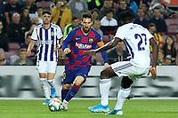 29th October 2019; Camp Nou, Barcelona, Catalonia, Spain; La Liga Football, Barcelona versus Real Valladolid; Leo Messi runs at Salisu of Valladolid