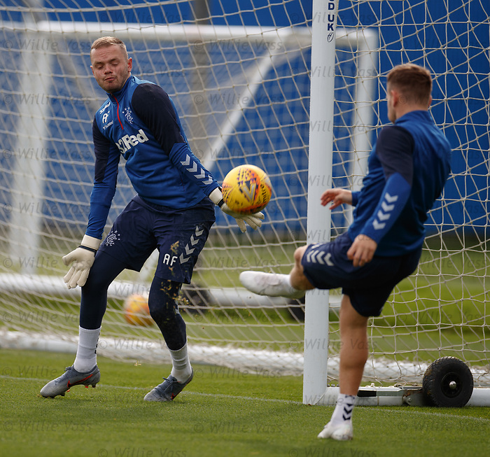 26.09.2018 Rangers training: Andy Firth saves from Greg Docherty