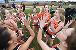 November 1, 2014; Sunnyvale, CA, USA; Pacific Tigers women's cross country team huddle during the WCC Cross Country Championships at Baylands Park.