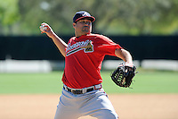 Pitcher Kaneoka Texiera (75) of the Atlanta Braves farm system in a Minor League Spring Training workout on Monday, March 16, 2015, at the ESPN Wide World of Sports Complex in Lake Buena Vista, Florida. (Tom Priddy/Four Seam Images)