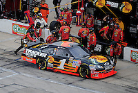 Nov. 8, 2009; Fort Worth, TX, USA; NASCAR Sprint Cup Series driver Martin Truex Jr pits during the Dickies 500 at the Texas Motor Speedway. Mandatory Credit: Mark J. Rebilas-