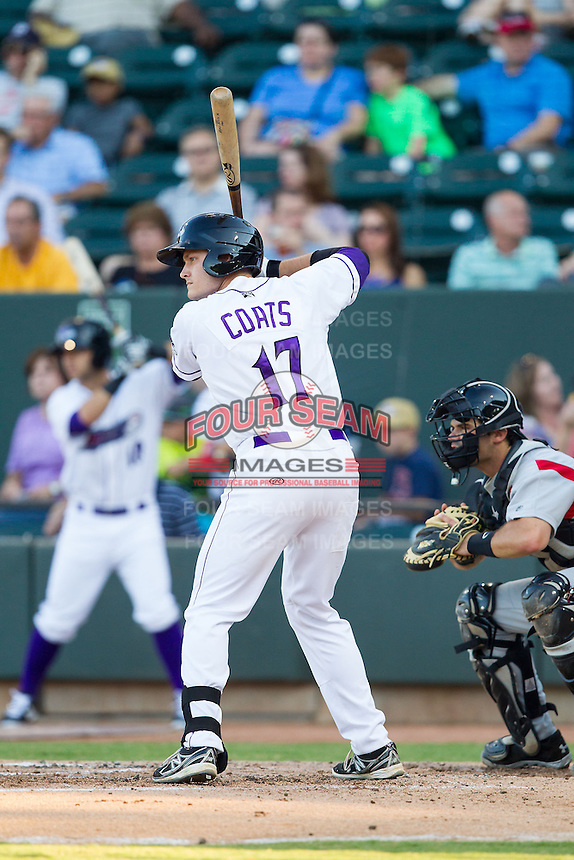 Jason Coats (17) of the Winston-Salem Dash at bat against the Carolina Mudcats at BB&T Ballpark on June 6, 2014 in Winston-Salem, North Carolina.  The Mudcats defeated the Dash 3-1.  (Brian Westerholt/Four Seam Images)