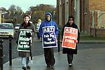 Teachers outside St marys.Pic Fran Caffrey Newsfile