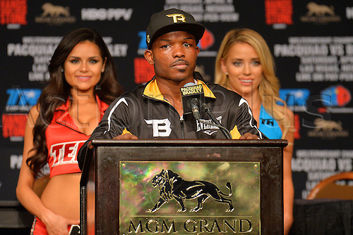 09.04.2016, Las Vegas, Nevada, USA. Timothy Bradley, Jr. (USA) addresses the media after the Pacquiao versus Bradley Welterweight Championship fight in the MGM Grand Garden Arena at the MGM Grand Hotel and Casino in Las Vegas, Nevada. Manny Pacquiao (Philippines) defeated Timothy Bradley, Jr. (USA) by unanimous decision.