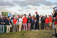 Dustin Johnson (USA) looks over his approach shot from the rough on 15 during round 3 Four-Ball of the 2017 President's Cup, Liberty National Golf Club, Jersey City, New Jersey, USA. 9/30/2017.<br /> Picture: Golffile | Ken Murray<br /> <br /> All photo usage must carry mandatory copyright credit (&copy; Golffile | Ken Murray)