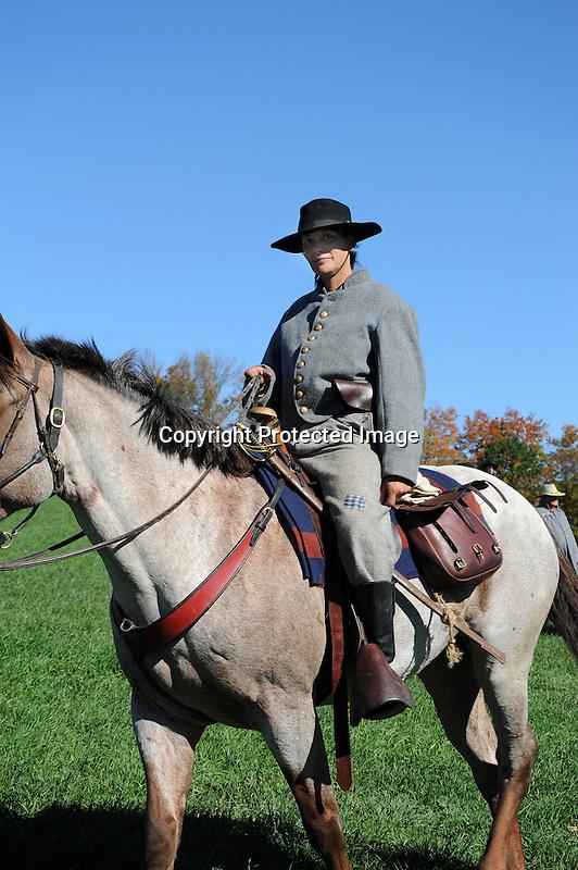 Civil War Reenactment Confederate Cavalry Soldier