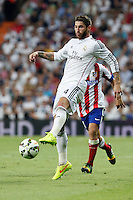 Sergio Ramos of Real Madrid during La Liga match between Real Madrid and Atletico de Madrid at Santiago Bernabeu stadium in Madrid, Spain. September 13, 2014. (ALTERPHOTOS/Caro Marin)