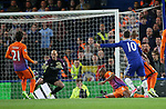Chelsea's Eden Hazard scoring his sides opening goal during the Premier League match at the Stamford Bridge Stadium, London. Picture date: April 5th, 2017. Pic credit should read: David Klein/Sportimage