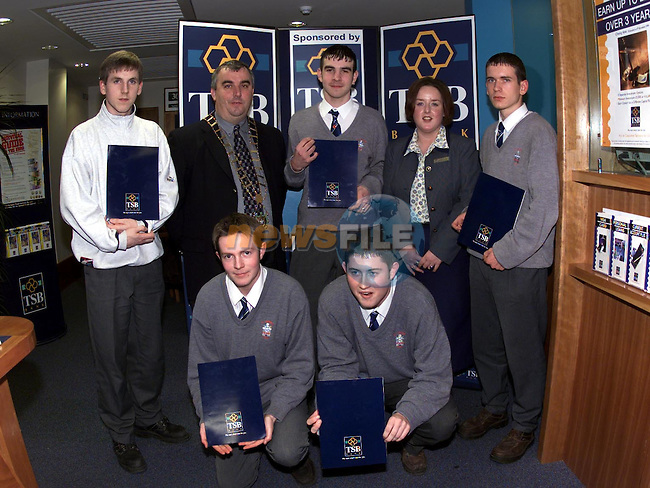 Front John Canney and Alan Rice. Back David McMahon, Sean Collins Mayor, Dylan Mathews School Bank Manager, Catherine Clarke TSB School Bank  and Robert Cor mambers of the St Josephs TSB school Bank after being presented with there certificates..Pic Fran Caffrey Newsfile..(Pictures supplies by TSB Bank).Camera:   DCS620C.Serial #: K620C-01974.Width:    1728.Height:   1152.Date:  5/12/99.Time:   17:24:04.DCS6XX Image.FW Ver:   1.9.6.TIFF Image.Look:   Product.Tagged.Counter:    [499].Shutter:  1/40.Aperture:  f8.0.ISO Speed:  200.Max Aperture:  f1.8.Min Aperture:  f22.Focal Length:  50.Exposure Mode:  Manual (M).Meter Mode:  Color Matrix.Drive Mode:  Continuous High (CH).Focus Mode:  Continuous (AF-C).Focus Point:  Center.Flash Mode:  Normal Sync.Compensation:  +0.0.Flash Compensation:  +0.0.Self Timer Time:  10s.White balance: Auto (Flash).Time: 17:24:04.751.