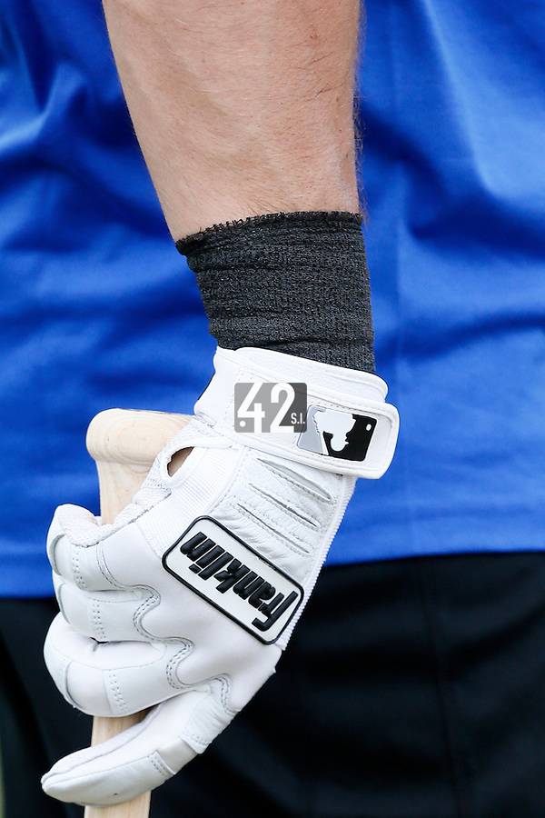 19 September 2012: Close view of Florian Peyrichou batting glove prior to Team France friendly game won 6-3 against Palm Beach State College, during the 2012 World Baseball Classic Qualifier round, in Lake Worth, Florida, USA.