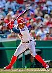 14 April 2018: Washington Nationals infielder Wilmer Difo in action against the Colorado Rockies at Nationals Park in Washington, DC. The Nationals rallied to defeat the Rockies 6-2 in the 3rd game of their 4-game series. Mandatory Credit: Ed Wolfstein Photo *** RAW (NEF) Image File Available ***